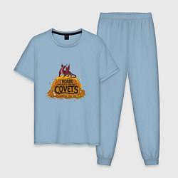 Пижама хлопковая мужская Dragon Hoard цвета мягкое небо — фото 1