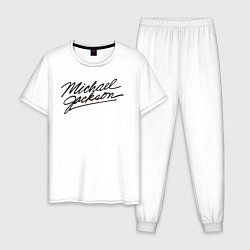 Пижама хлопковая мужская Jackson Michael цвета белый — фото 1
