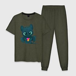 Пижама хлопковая мужская Дракончик Likee цвета меланж-хаки — фото 1