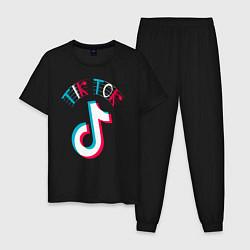 Пижама хлопковая мужская Glitch TikTok цвета черный — фото 1