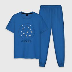 Пижама хлопковая мужская Cookies цвета синий — фото 1