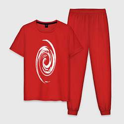 Пижама хлопковая мужская Спираль цвета красный — фото 1