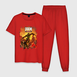 Пижама хлопковая мужская DOOM цвета красный — фото 1