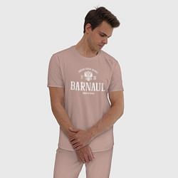 Пижама хлопковая мужская Барнаул Born in Russia цвета пыльно-розовый — фото 2