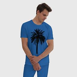 Пижама хлопковая мужская Тропики цвета синий — фото 2