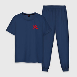 Пижама хлопковая мужская HOKAGE MINATO НА СПИНЕ цвета тёмно-синий — фото 1