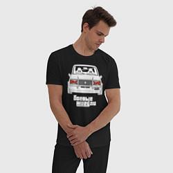 Пижама хлопковая мужская Ваз 2107 боевые жигули цвета черный — фото 2