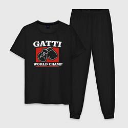 Пижама хлопковая мужская Gatti цвета черный — фото 1