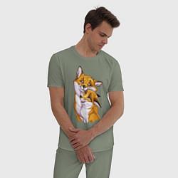 Пижама хлопковая мужская Лисички цвета авокадо — фото 2