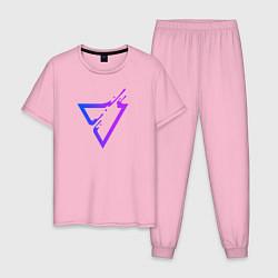 Пижама хлопковая мужская Liquid Triangle цвета светло-розовый — фото 1