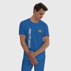 Пижама хлопковая мужская Горы по колено цвета синий — фото 2