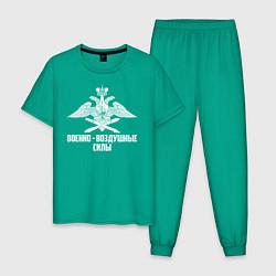 Пижама хлопковая мужская Военно - воздушные силы цвета зеленый — фото 1