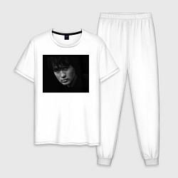 Пижама хлопковая мужская Перемен текст на лице цвета белый — фото 1