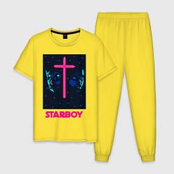 Пижама хлопковая мужская STARBOY цвета желтый — фото 1