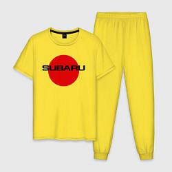 Пижама хлопковая мужская SUBARU цвета желтый — фото 1