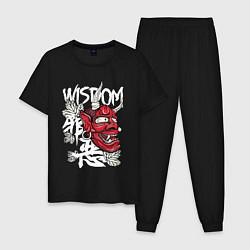 Пижама хлопковая мужская Wisdom цвета черный — фото 1