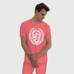 Пижама хлопковая мужская Пограничные Войска цвета коралловый — фото 2