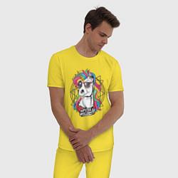 Пижама хлопковая мужская Единорог хипстер цвета желтый — фото 2