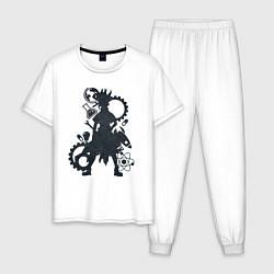 Пижама хлопковая мужская Доктор Стоун цвета белый — фото 1