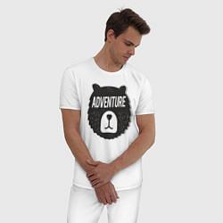 Пижама хлопковая мужская Bear Adventure цвета белый — фото 2
