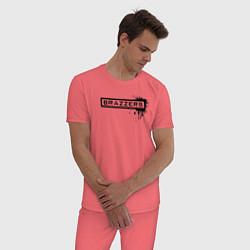 Пижама хлопковая мужская Brazzers цвета коралловый — фото 2
