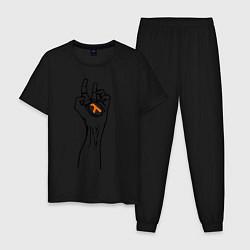 Пижама хлопковая мужская HALF-LIFE цвета черный — фото 1