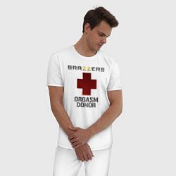 Пижама хлопковая мужская Brazzers orgasm donor цвета белый — фото 2