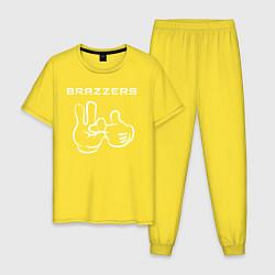 Пижама хлопковая мужская Brazzers цвета желтый — фото 1