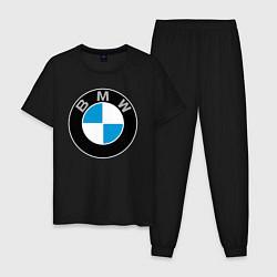 Пижама хлопковая мужская BMW цвета черный — фото 1