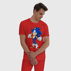 Пижама хлопковая мужская Sonic цвета красный — фото 2