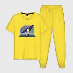 Пижама хлопковая мужская Рекс 1 цвета желтый — фото 1