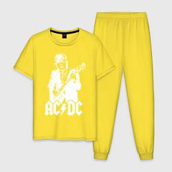 Пижама хлопковая мужская ACDC цвета желтый — фото 1
