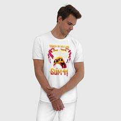 Пижама хлопковая мужская Sum 41 Order In Decline цвета белый — фото 2