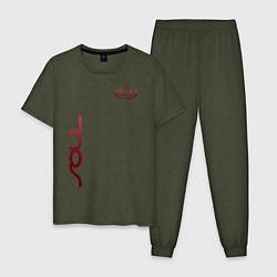 Пижама хлопковая мужская KIA SOUL цвета меланж-хаки — фото 1