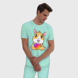 Пижама хлопковая мужская Морская Свинка Likee цвета мятный — фото 2