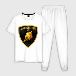 Пижама хлопковая мужская Ламборгини цвета белый — фото 1