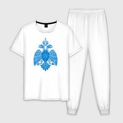 Пижама хлопковая мужская МЧС России цвета белый — фото 1