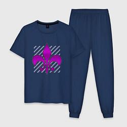 Пижама хлопковая мужская Королевская лилия цвета тёмно-синий — фото 1