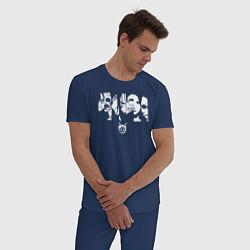 Пижама хлопковая мужская Gomunguls цвета тёмно-синий — фото 2