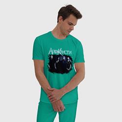 Пижама хлопковая мужская Агата Кристи цвета зеленый — фото 2