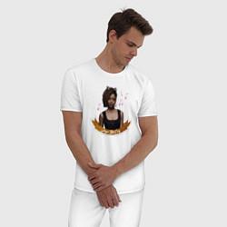 Пижама хлопковая мужская JOSIE MCCOY цвета белый — фото 2