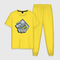 Пижама хлопковая мужская POPS цвета желтый — фото 1