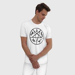 Пижама хлопковая мужская Devil's Trap цвета белый — фото 2