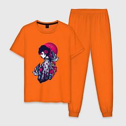 Пижама хлопковая мужская ГЕЙША цвета оранжевый — фото 1