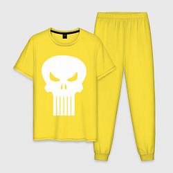 Пижама хлопковая мужская The Punisher Череп цвета желтый — фото 1