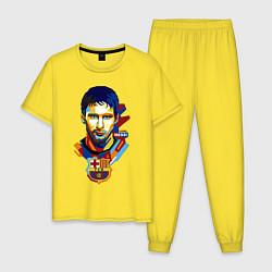 Пижама хлопковая мужская MESSI BARCELONA цвета желтый — фото 1