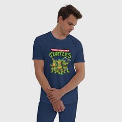 Пижама хлопковая мужская Черепашки-ниндзя цвета тёмно-синий — фото 2