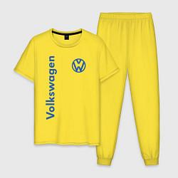 Пижама хлопковая мужская Volkswagen цвета желтый — фото 1