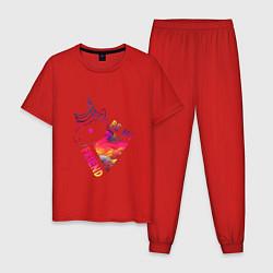 Пижама хлопковая мужская BE MY FRIEND цвета красный — фото 1
