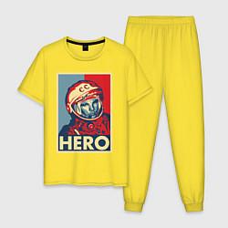 Пижама хлопковая мужская ЮРИЙ ГАГАРИН цвета желтый — фото 1